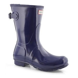 Hunter High Gloss Short Adjustable Boot Navy NEW